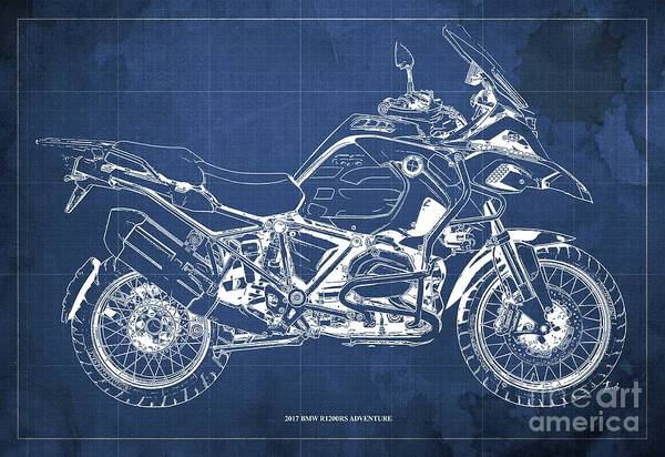 Wall Art - Digital Art - 2017 Bmw R1200rs Adventure Blueprint Vintage Blue Background by Drawspots Illustrations