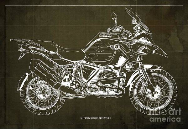 Wall Art - Digital Art - 2017 Bmw R1200rs Adventure Blueprint Vintage Brown Background by Drawspots Illustrations