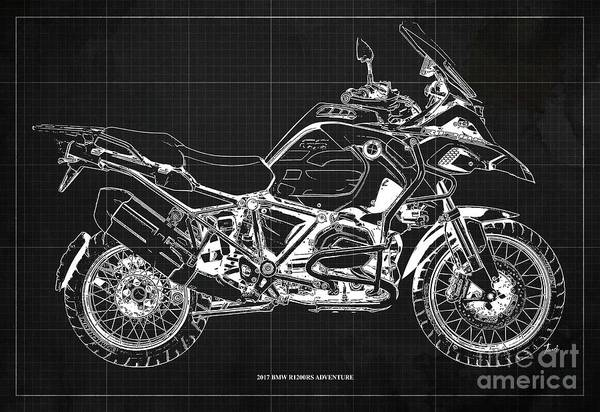 Wall Art - Digital Art - 2017 Bmw R1200rs Adventure Blueprint Vintage Dark Grey Background by Drawspots Illustrations