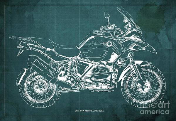 Wall Art - Digital Art - 2017 Bmw R1200rs Adventure Blueprint Vintage Green Background by Drawspots Illustrations
