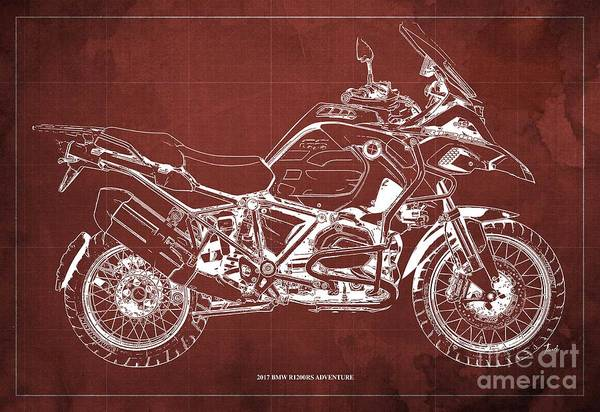 Wall Art - Digital Art - 2017 Bmw R1200rs Adventure Blueprint Vintage Red Background by Drawspots Illustrations