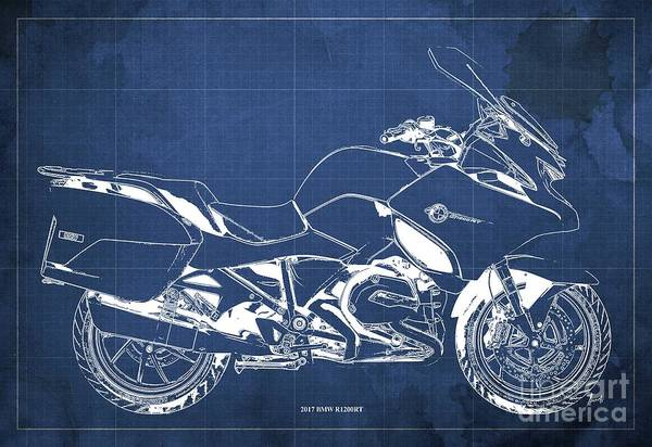 Wall Art - Digital Art - 2017 Bmw R1200rt Blueprint Original Artwork Vintage Blue Background by Drawspots Illustrations