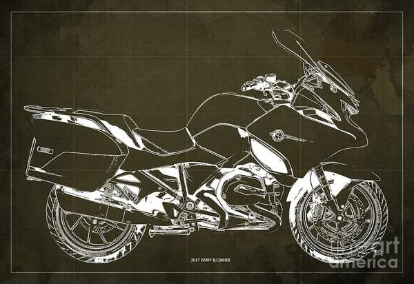 Wall Art - Digital Art - 2017 Bmw R1200rt Blueprint Original Artwork Vintage Brown Background by Drawspots Illustrations