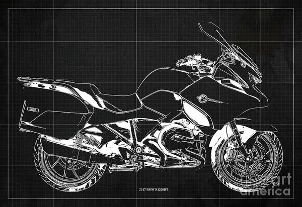 Wall Art - Digital Art - 2017 Bmw R1200rt Blueprint Original Artwork Vintage Dark Grey Background by Drawspots Illustrations