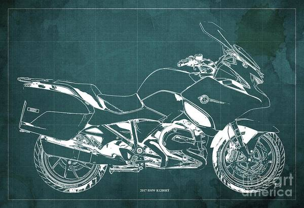 Wall Art - Digital Art - 2017 Bmw R1200rt Blueprint Original Artwork Vintage Green Background by Drawspots Illustrations