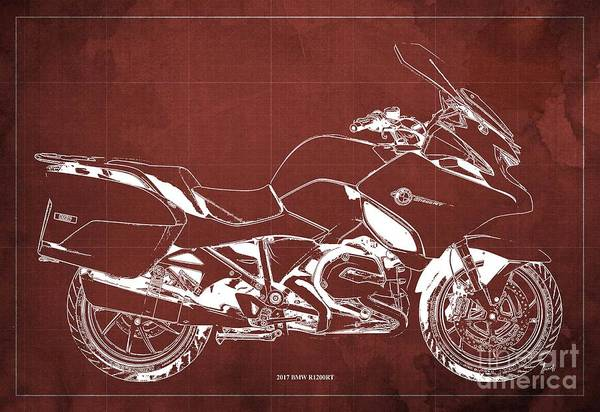 Wall Art - Digital Art - 2017 Bmw R1200rt Blueprint Original Artwork Vintage Red Background by Drawspots Illustrations