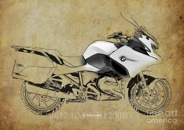 Wall Art - Digital Art - 2017 Bmw R1200rt Color And Black Lines Vintage Style Artwork by Drawspots Illustrations