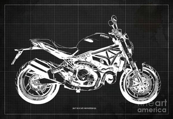 Wall Art - Digital Art - 2017 Ducati Monster 821 Blueprint, Vintage Dark Grey Background by Drawspots Illustrations