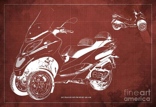 Wall Art - Digital Art - 2017 Piaggio Mp3 500 Sport Abs Asr Blueprint, Vintage Red Background by Drawspots Illustrations