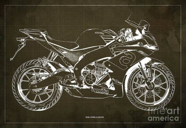 Wall Art - Digital Art - 2018 Aprilia Rs125 Blueprint, Vintage Brown Background by Drawspots Illustrations