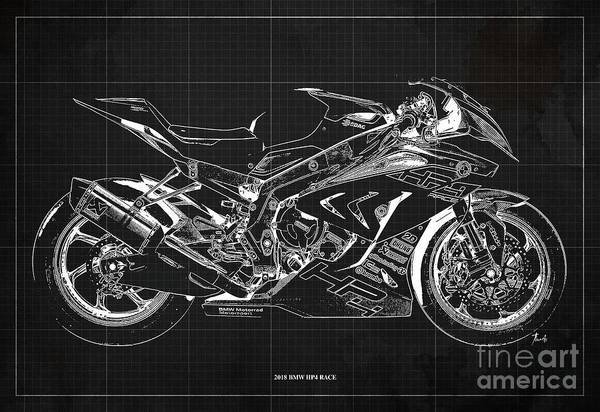 Wall Art - Digital Art - 2018 Bmw Hp4 Race Blueprint, Vintage Dark Grey Background by Drawspots Illustrations