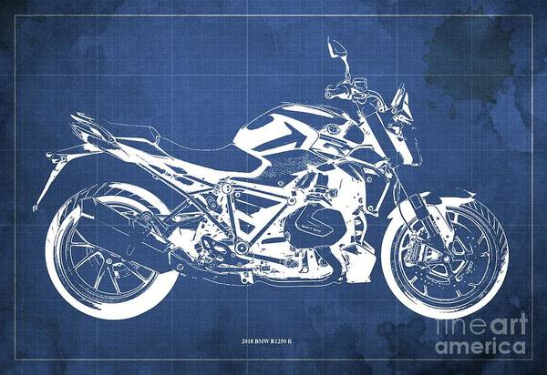 Wall Art - Digital Art - 2018 Bmw R1250 R Blueprint, Motorcycles Blueprints, Blue Background Art Print by Drawspots Illustrations