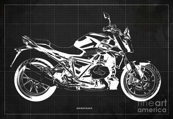 Wall Art - Digital Art - 2018 Bmw R1250 R Blueprint, Motorcycles Blueprints, Dark Grey Background Art Print by Drawspots Illustrations