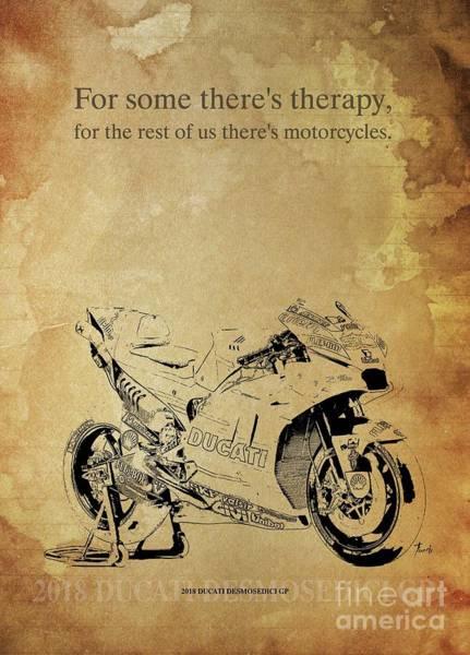 Wall Art - Drawing - 2018 Ducati Desmosedici Gp Artwork. Motorcycle Quote by Drawspots Illustrations