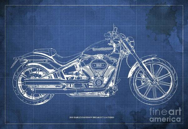 Wall Art - Digital Art - 2018 Harley-davidson Breakout 114 Fxbrs,motorcycle Blueprint Blue Background by Drawspots Illustrations