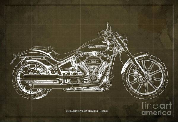 Wall Art - Digital Art - 2018 Harley-davidson Breakout 114 Fxbrs,motorcycle Blueprint Brown Background by Drawspots Illustrations