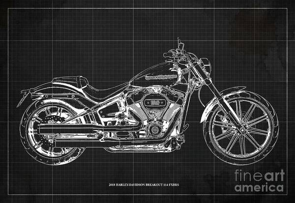 Wall Art - Digital Art - 2018 Harley-davidson Breakout 114 Fxbrs,motorcycle Blueprint Dark Grey Background by Drawspots Illustrations