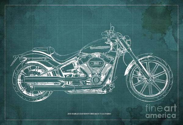 Wall Art - Digital Art - 2018 Harley-davidson Breakout 114 Fxbrs,motorcycle Blueprint Green Background by Drawspots Illustrations