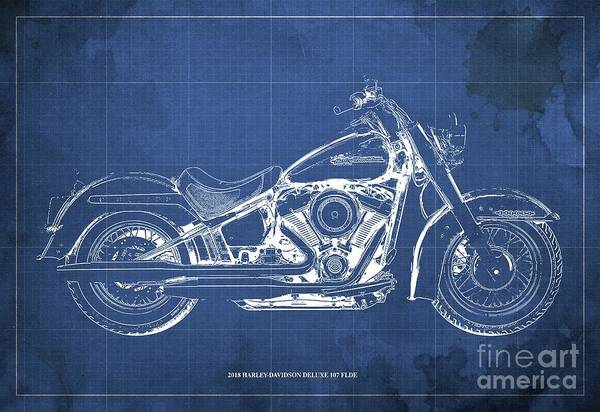 Wall Art - Digital Art - 2018 Harley-davidson Deluxe 107 Flde, Motorcycle Blueprint Blue Background by Drawspots Illustrations