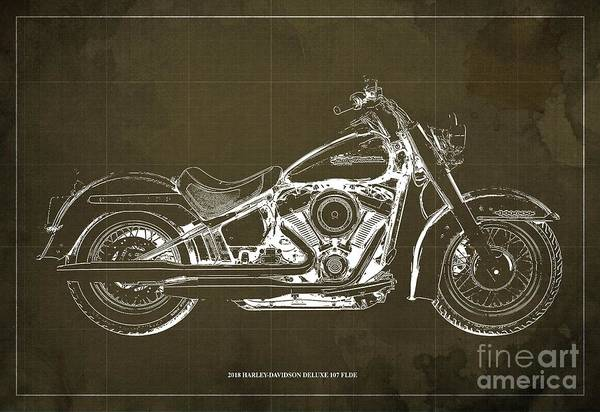 Wall Art - Digital Art - 2018 Harley-davidson Deluxe 107 Flde, Motorcycle Blueprint Brow Background by Drawspots Illustrations