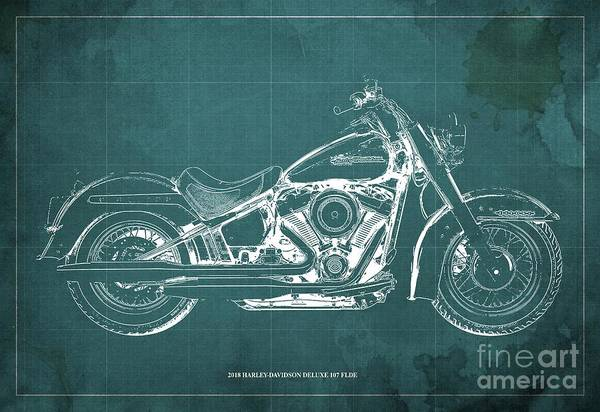 Wall Art - Digital Art - 2018 Harley-davidson Deluxe 107 Flde, Motorcycle Blueprint Green Background by Drawspots Illustrations