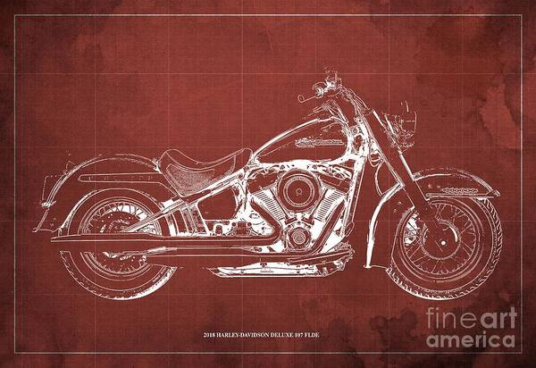 Wall Art - Digital Art - 2018 Harley-davidson Deluxe 107 Flde, Motorcycle Blueprint Red Background by Drawspots Illustrations