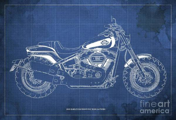 Wall Art - Digital Art - 2018 Harley-davidson Fat Bob 114 Fxfbs Motorcycle Blueprint Blue Background by Drawspots Illustrations