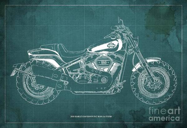 Wall Art - Digital Art - 2018 Harley-davidson Fat Bob 114 Fxfbs Motorcycle Blueprint Green Background by Drawspots Illustrations