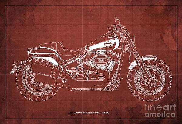Wall Art - Digital Art - 2018 Harley-davidson Fat Bob 114 Fxfbs Motorcycle Blueprint Red Background by Drawspots Illustrations