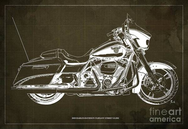 Wall Art - Digital Art - 2018 Harley Davidson Flhxanv Street Glide Blueprint Vintage Brown Background by Drawspots Illustrations