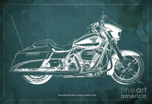 Wall Art - Digital Art - 2018 Harley Davidson Flhxanv Street Glide Blueprint Vintage Green Background by Drawspots Illustrations