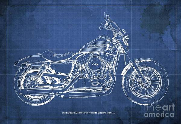 Wall Art - Digital Art - 2018 Harley-davidson Forty-eight Xl1200xs Special, Blueprint Blue Background by Drawspots Illustrations