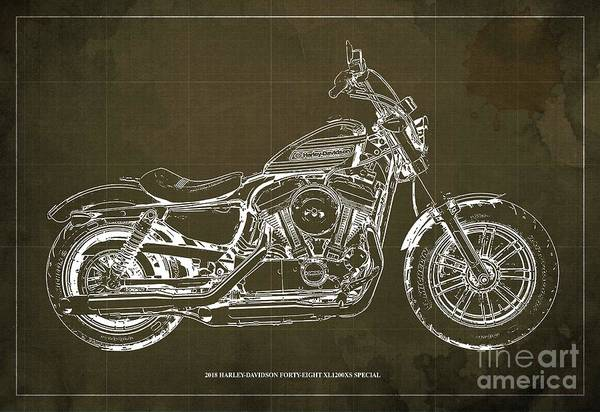 Wall Art - Digital Art - 2018 Harley-davidson Forty-eight Xl1200xs Special, Blueprint Brown Background by Drawspots Illustrations