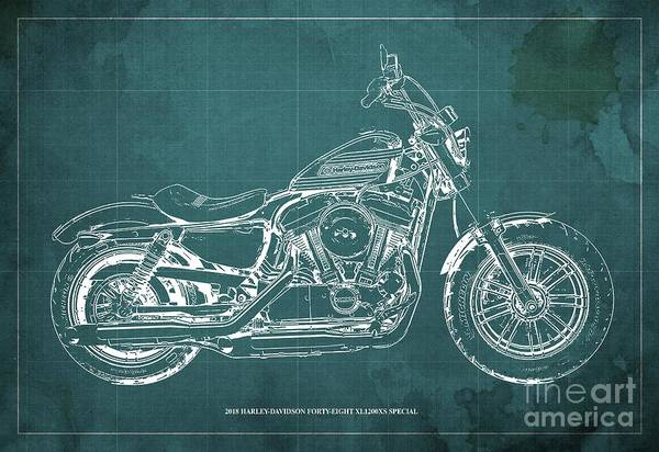Wall Art - Digital Art - 2018 Harley-davidson Forty-eight Xl1200xs Special, Blueprint Green Background by Drawspots Illustrations