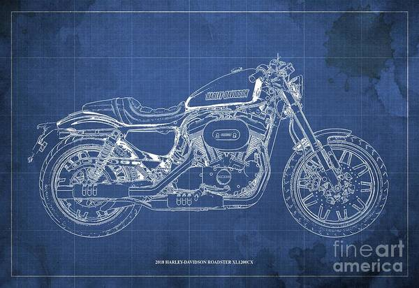 Wall Art - Digital Art - 2018 Harley-davidson Roadster, Motorcycle Blueprint, Blue Background  Man Cave Decoration by Drawspots Illustrations