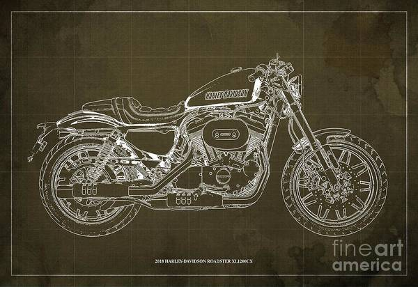 Wall Art - Digital Art - 2018 Harley-davidson Roadster, Motorcycle Blueprint, Brown Background  Man Cave Decoration by Drawspots Illustrations