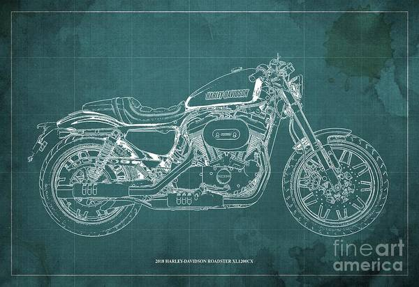 Wall Art - Digital Art - 2018 Harley-davidson Roadster, Motorcycle Blueprint, Green Background  Man Cave Decoration by Drawspots Illustrations