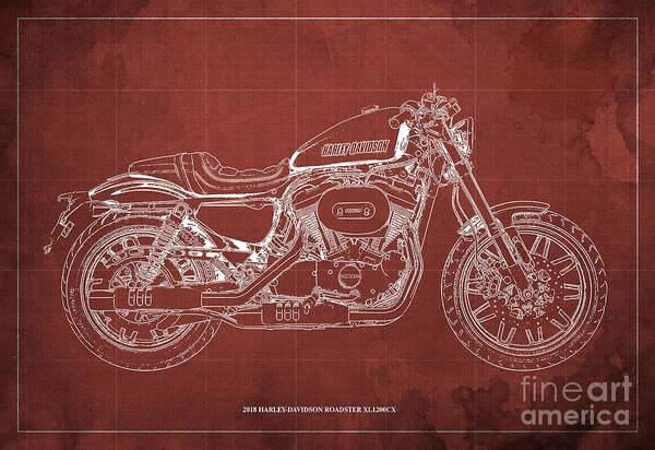 Wall Art - Digital Art - 2018 Harley-davidson Roadster, Motorcycle Blueprint, Red Background  Man Cave Decoration by Drawspots Illustrations