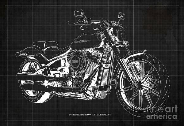 Black Friday Wall Art - Digital Art - 2018 Harley-davidson Softail Breakout Mototcycle Blueprint Dark Grey Background by Drawspots Illustrations