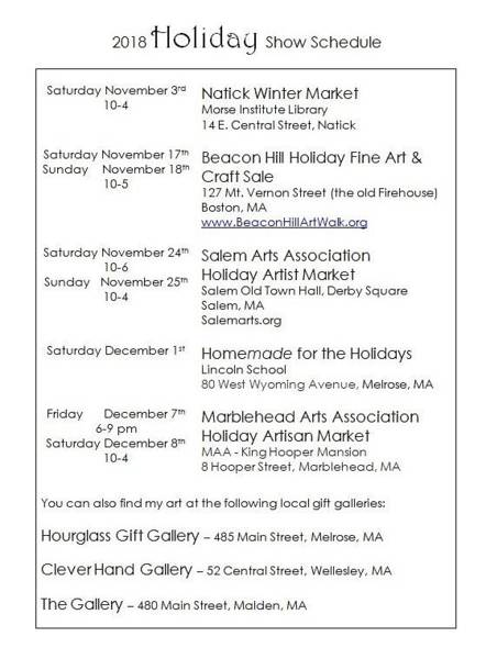 Painting - 2018 Holiday Show Schedule by Caroline Sainis