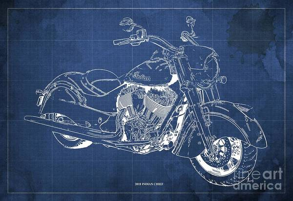 Moto Blueprint Wall Art - Digital Art - 2018 Indian Chief Blueprint, Vintage Blue Background, Giftideas by Drawspots Illustrations