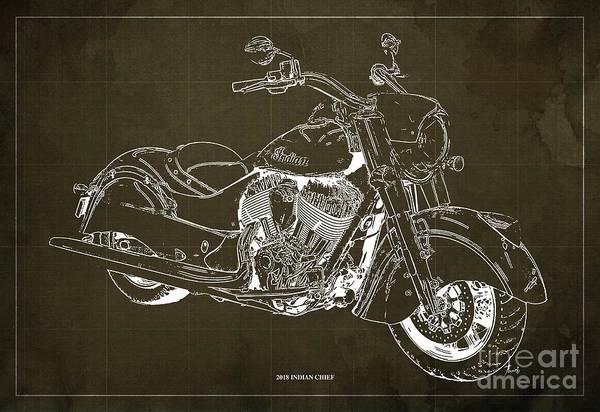Moto Blueprint Wall Art - Digital Art - 2018 Indian Chief Blueprint, Vintage Brown Background, Giftideas by Drawspots Illustrations