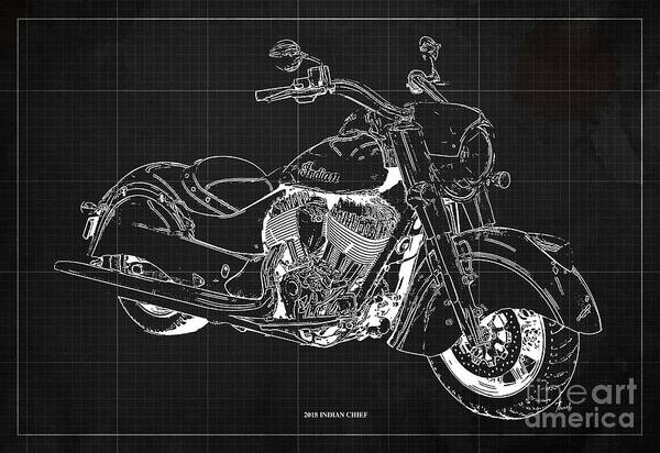 Wall Art - Digital Art - 2018 Indian Chief Blueprint, Vintage Dark Grey Background, Giftideas by Drawspots Illustrations