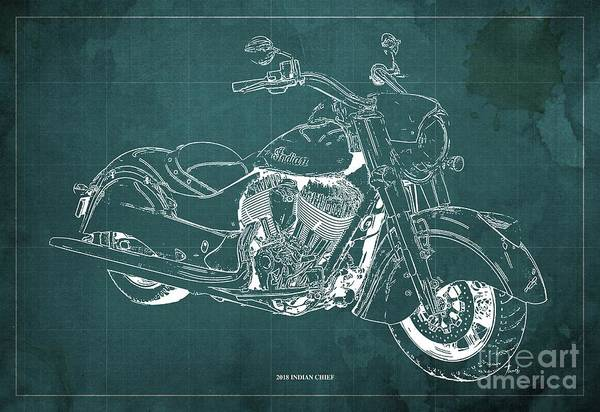 Moto Blueprint Wall Art - Digital Art - 2018 Indian Chief Blueprint, Vintage Green Background, Giftideas by Drawspots Illustrations