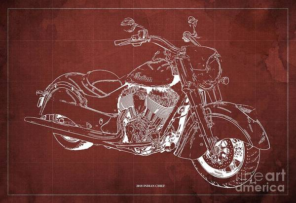 Wall Art - Digital Art - 2018 Indian Chief Blueprint, Vintage Red Background, Giftideas by Drawspots Illustrations