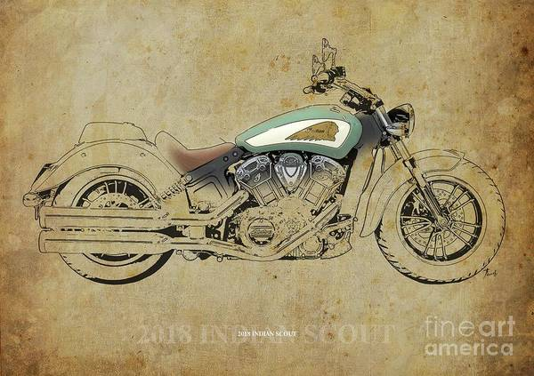 Wall Art - Digital Art - 2018 Indian Scout Artwork, Color And Black Lines by Drawspots Illustrations