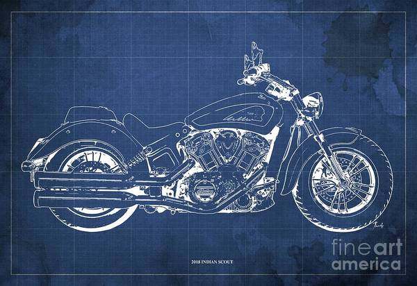 Wall Art - Digital Art - 2018 Indian Scout Blueprint Vintage Blue Background by Drawspots Illustrations