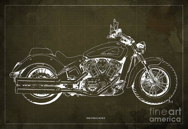 Wall Art - Digital Art - 2018 Indian Scout Blueprint Vintage Brown Background by Drawspots Illustrations
