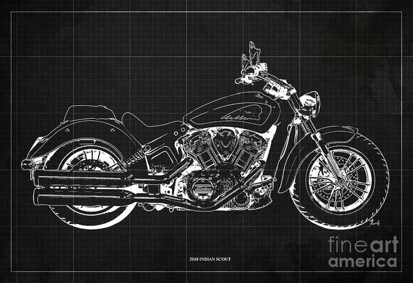 Wall Art - Digital Art - 2018 Indian Scout Blueprint Vintage Dark Grey Background by Drawspots Illustrations
