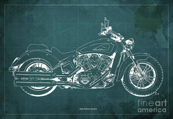 Wall Art - Digital Art - 2018 Indian Scout Blueprint Vintage Green Background by Drawspots Illustrations